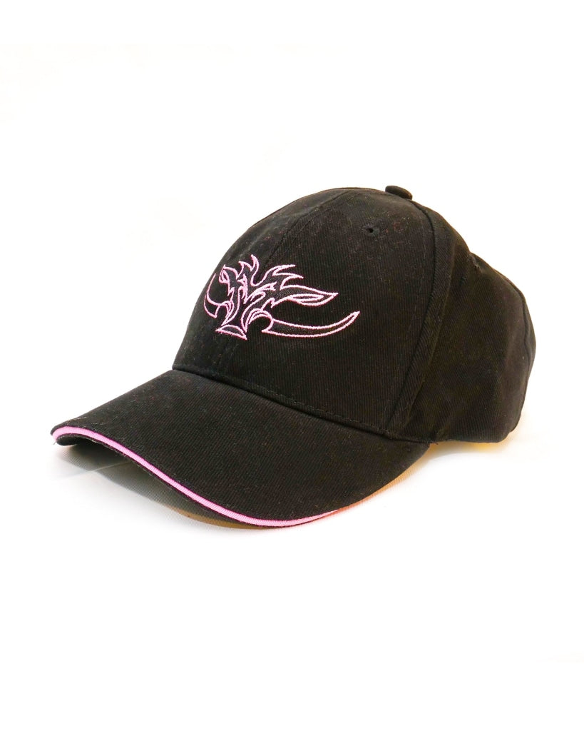 Kids black cap with pink trim and pink Game Gear Logo