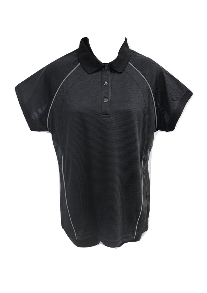 Ladies black quick dry breathable polo shirt with grey trim