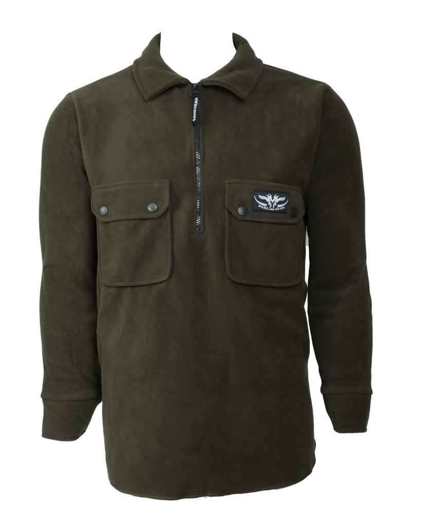 Olive Fleece 2 Pockets Outdoor Fleece Top
