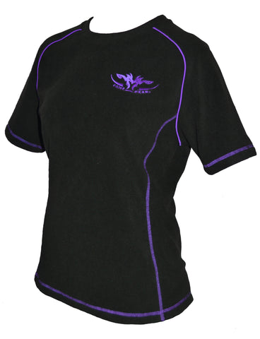 Ladies black fleece tee with purple trim with zip pocket