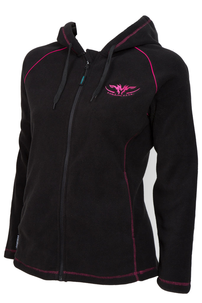 Ladies black fleece hoodie with pink hood lining and pink trim with full zip and zip pockets