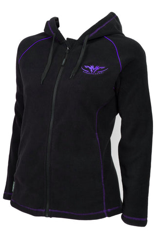 Ladies black fleece hoodie with purple hood lining and purple trim with full zip and zip pockets