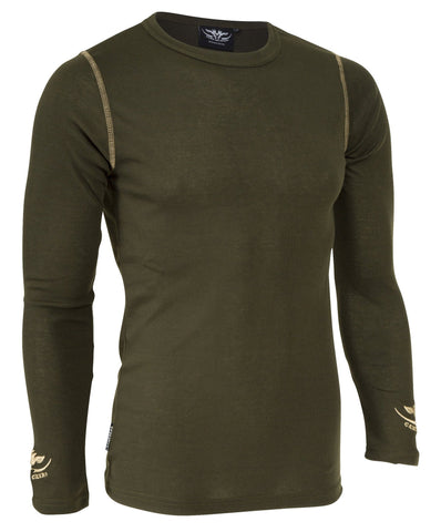 Olive green long sleeve thermal top for hunting and outdoors