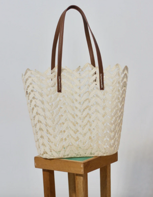 Handmade lace tote with leather handle and attachable inset - MULTIPLE COLORS