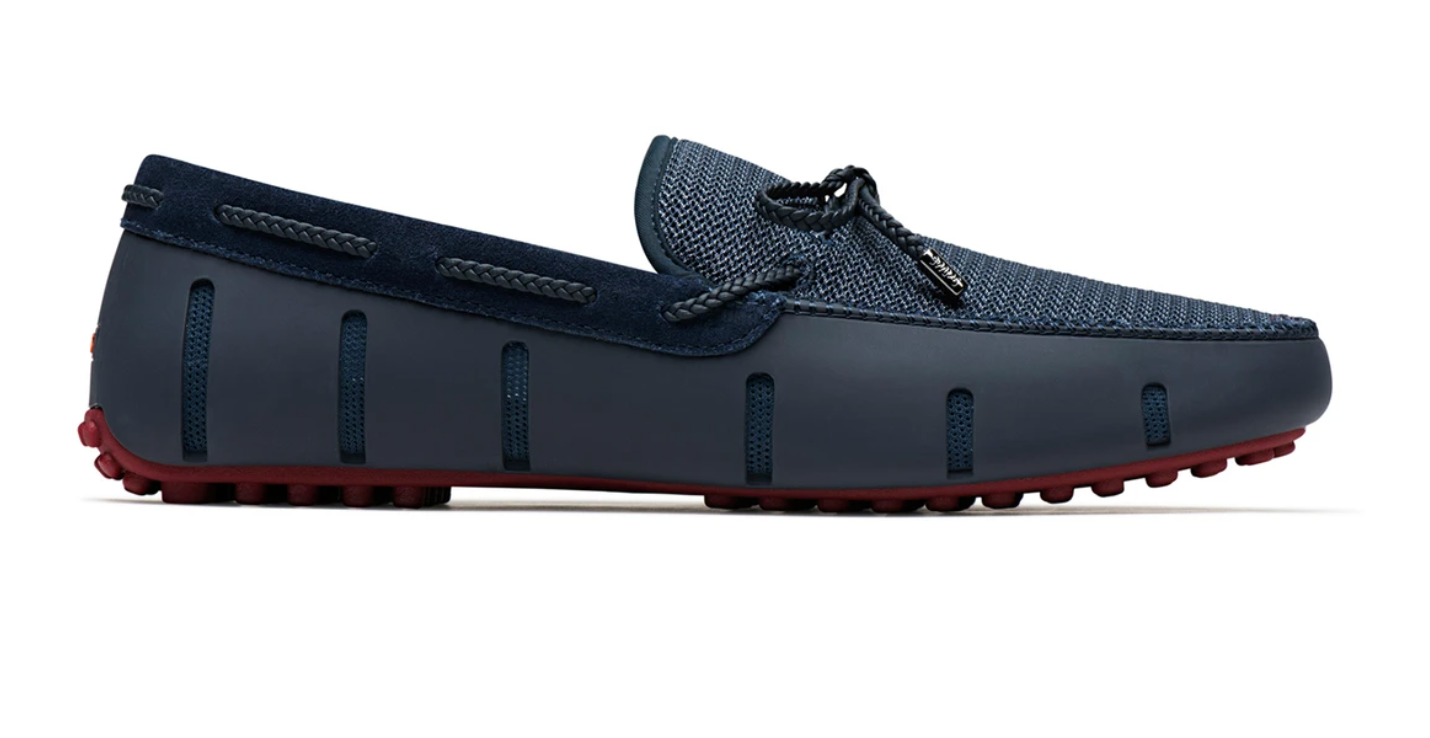 Swims Braided lace Lux Loafer Driver Navy Deep