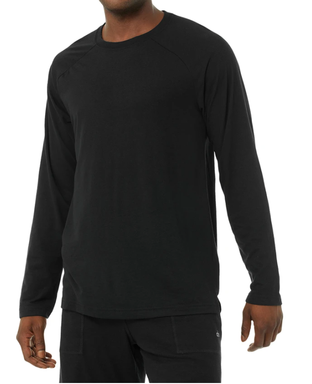 Alo Triumph Long Sleeve Tee  Solid Black