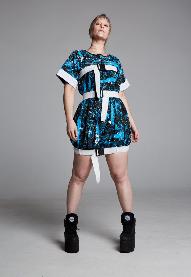 Pendulum Studios momentum dress blue white black painted deadstock linen, white straps and buckles
