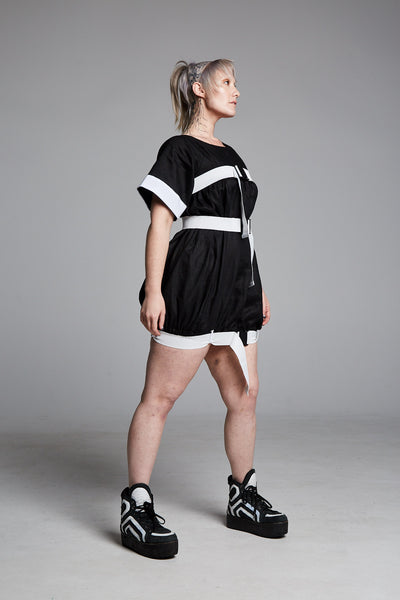 Pendulum Studios momentum dress black deadstock linen, white straps and buckles