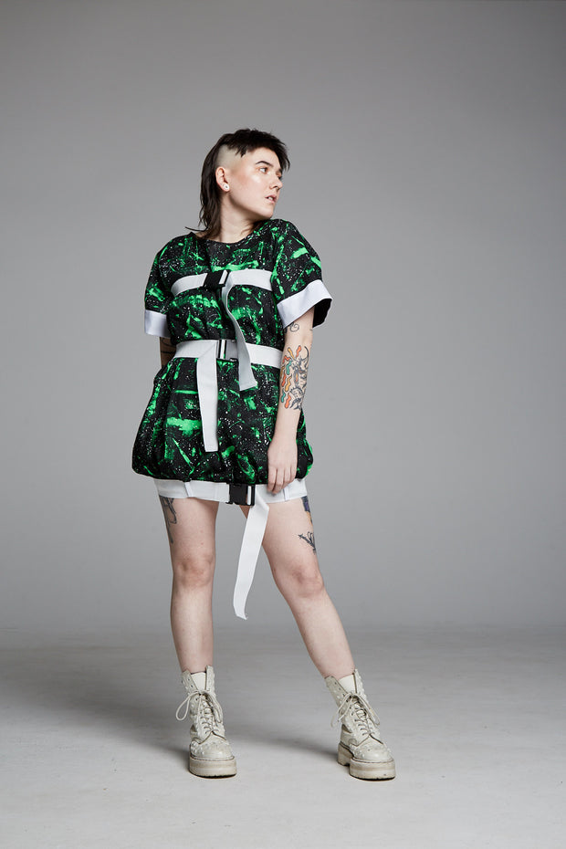 Pendulum Studios momentum dress green white black painted deadstock linen, white straps and buckles