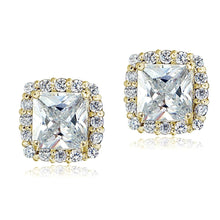 Load image into Gallery viewer, Yellow Gold Flashed Sterling Silver Cubic Zirconia Princess-Cut Square Halo Stud Earrings