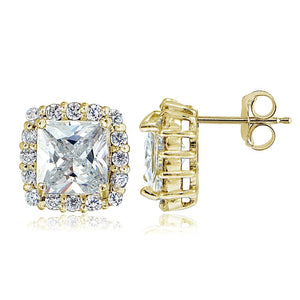 Yellow Gold Flashed Sterling Silver Cubic Zirconia Princess-Cut Square Halo Stud Earrings