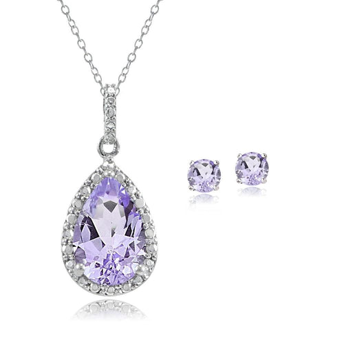 Sterling Silver 3.25ct Amethyst & Diamond Accent Teardrop Necklace Earrings Set