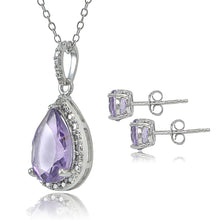 Load image into Gallery viewer, Sterling Silver 3.25ct Amethyst & Diamond Accent Teardrop Necklace Earrings Set