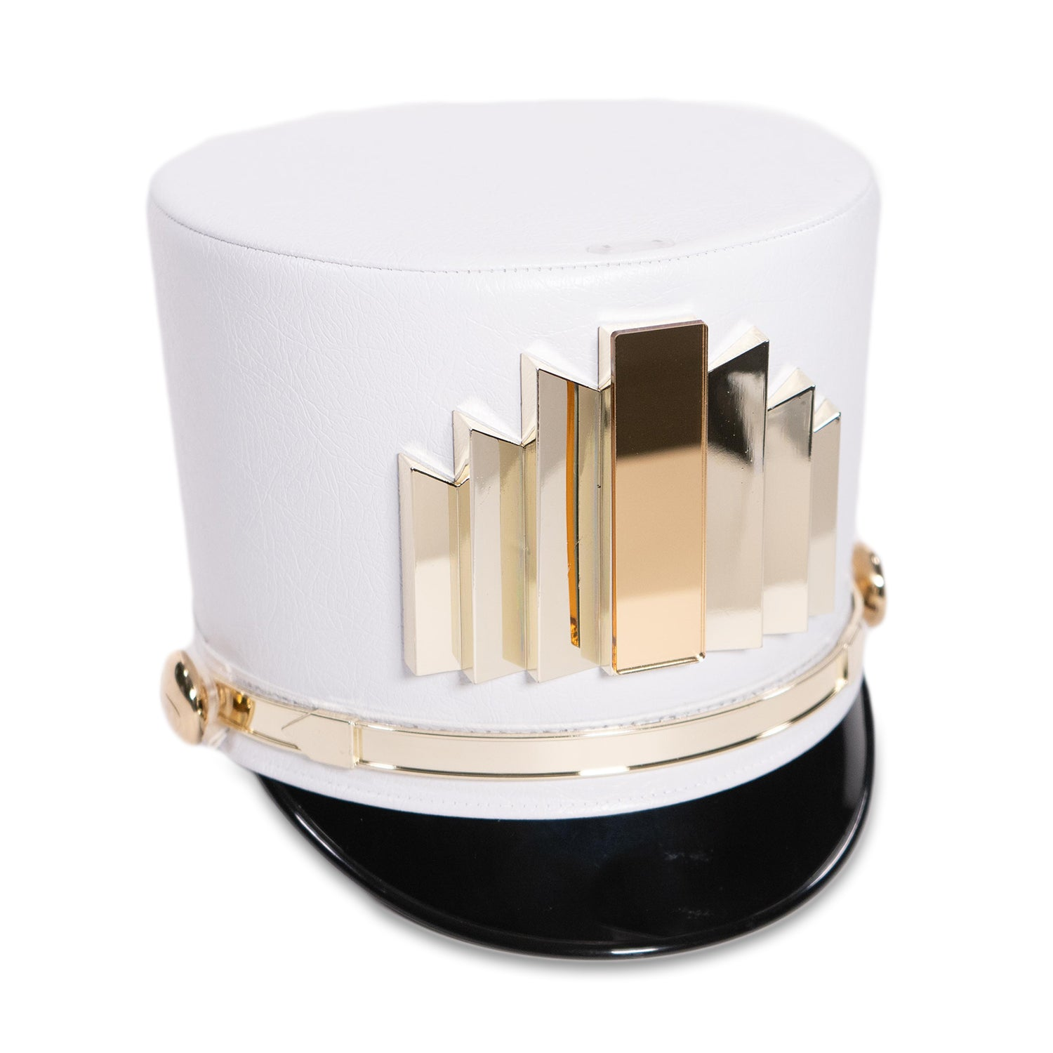 White Shako Hat (Gold Hardware)