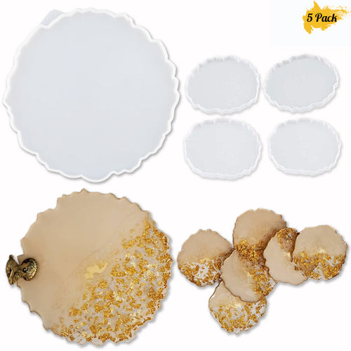Winzwon Resin Tray Molds with 2 Pcs Coaster Molds for Resin Casting Epoxy Resin Irregular Silicone Tray Mold with 2 Pcs Gold Handles for Geode Agate Platter Faux Agate Serving Board