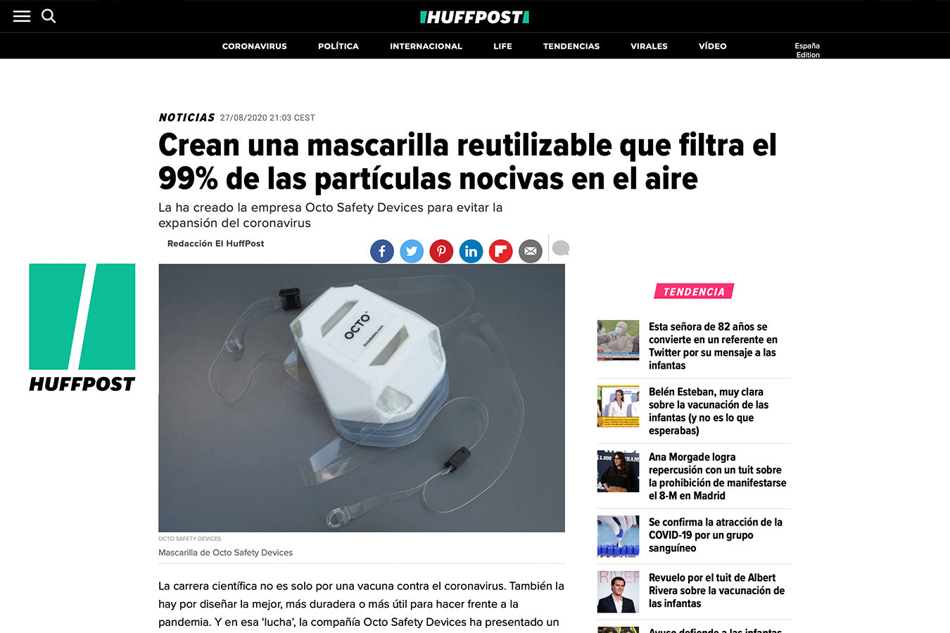 OCTO Respirator Mask Featured in Spanish-Language Media