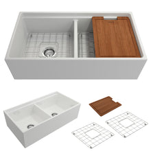 "Load image into Gallery viewer, BOCCHI Contempo Apron Front Workstation Step Rim Fireclay 36"" Double Bowl Kitchen Sink with Protective Bottom Grid and Strainer 1348-001-0120 White"