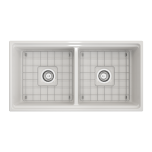 "BOCCHI Contempo Apron Front Workstation Step Rim Fireclay 36"" Double Bowl Kitchen Sink with Protective Bottom Grid and Strainer 1348-001-0120 White"