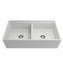 "Load image into Gallery viewer, BOCCHI Contempo Apron Front Workstation Step Rim Fireclay 36"" Double Bowl Kitchen Sink with Protective Bottom Grid and Strainer 1348-002-0120 Matte White"