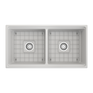 "BOCCHI Contempo Apron Front Workstation Step Rim Fireclay 36"" Double Bowl Kitchen Sink with Protective Bottom Grid and Strainer 1348-002-0120 Matte White"