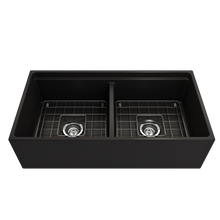 "Load image into Gallery viewer, BOCCHI Contempo Apron Front Workstation Step Rim Fireclay 36"" Double Bowl Kitchen Sink with Protective Bottom Grid and Strainer 1348-004-0120 Matte Black"