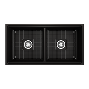 "BOCCHI Contempo Apron Front Workstation Step Rim Fireclay 36"" Double Bowl Kitchen Sink with Protective Bottom Grid and Strainer 1348-004-0120 Matte Black"