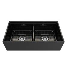 "Load image into Gallery viewer, BOCCHI Contempo Apron Front Workstation Step Rim Fireclay 36"" Double Bowl Kitchen Sink with Protective Bottom Grid and Strainer 1348-005-0120 Black"
