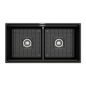 "BOCCHI Contempo Apron Front Workstation Step Rim Fireclay 36"" Double Bowl Kitchen Sink with Protective Bottom Grid and Strainer 1348-005-0120 Black"