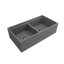 "Load image into Gallery viewer, BOCCHI Contempo Apron Front Workstation Step Rim Fireclay 36"" Double Bowl Kitchen Sink with Protective Bottom Grid and Strainer 1348-006-0120 Matte Gray"