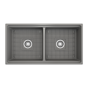 "BOCCHI Contempo Apron Front Workstation Step Rim Fireclay 36"" Double Bowl Kitchen Sink with Protective Bottom Grid and Strainer 1348-006-0120 Matte Gray"