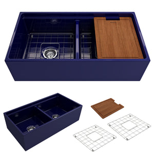 "BOCCHI Contempo Apron Front Workstation Step Rim Fireclay 36"" Double Bowl Kitchen Sink with Protective Bottom Grid and Strainer 1348-010-0120 Sapphire Bulue"