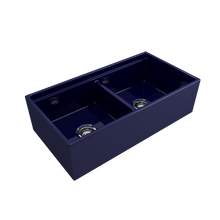 "Load image into Gallery viewer, BOCCHI Contempo Apron Front Workstation Step Rim Fireclay 36"" Double Bowl Kitchen Sink with Protective Bottom Grid and Strainer 1348-010-0120 Sapphire Blue"