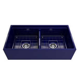 "BOCCHI Contempo Apron Front Workstation Step Rim Fireclay 36"" Double Bowl Kitchen Sink with Protective Bottom Grid and Strainer 1348-010-0120 Sapphire Blue"