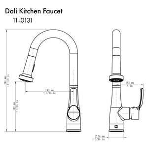 ZLINE Dali Kitchen Faucet in Brushed Nickel (DAL-KF-BN)
