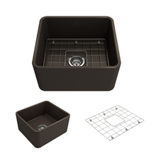 "Load image into Gallery viewer, Bocchi Classico Farmhouse Apron Front Fireclay 20"" Single Bowl Kitchen Sink with Protective Bottom Grid and Strainer 1136-025-0120 Matte Brown"