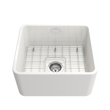 "Load image into Gallery viewer, Bocchi Classico Farmhouse Apron Front Fireclay 20"" Single Bowl Kitchen Sink with Protective Bottom Grid and Strainer 1136-001-0120 White"