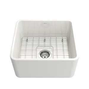 "Bocchi Classico Farmhouse Apron Front Fireclay 20"" Single Bowl Kitchen Sink with Protective Bottom Grid and Strainer 1136-001-0120 White"
