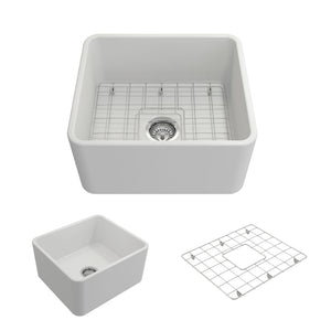 "Bocchi Classico Farmhouse Apron Front Fireclay 20"" Single Bowl Kitchen Sink with Protective Bottom Grid and Strainer 1136-002-0120 Matte White"