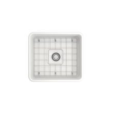 "Load image into Gallery viewer, Bocchi Classico Farmhouse Apron Front Fireclay 20"" Single Bowl Kitchen Sink with Protective Bottom Grid and Strainer 1136-002-0120 Matte White"