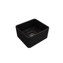 "Load image into Gallery viewer, Bocchi Classico Farmhouse Apron Front Fireclay 20"" Single Bowl Kitchen Sink with Protective Bottom Grid and Strainer 1136-004-0120 Matte Black"