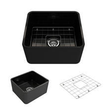 "Load image into Gallery viewer, Bocchi Classico Farmhouse Apron Front Fireclay 20"" Single Bowl Kitchen Sink with Protective Bottom Grid and Strainer 1136-005-0120 Black"