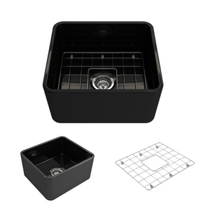 "Bocchi Classico Farmhouse Apron Front Fireclay 20"" Single Bowl Kitchen Sink with Protective Bottom Grid and Strainer 1136-005-0120 Black"