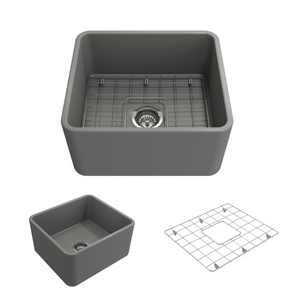 "Bocchi Classico Farmhouse Apron Front Fireclay 20"" Single Bowl Kitchen Sink with Protective Bottom Grid and Strainer 1136-006-0120 Matte Gray"