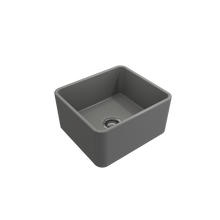 "Load image into Gallery viewer, Bocchi Classico Farmhouse Apron Front Fireclay 20"" Single Bowl Kitchen Sink with Protective Bottom Grid and Strainer 1136-006-0120 Matte Gray"