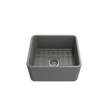 "Load image into Gallery viewer, Classico Farmhouse Apron Front Fireclay 20"" Single Bowl Kitchen Sink with Protective Bottom Grid and Strain"