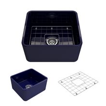 "Load image into Gallery viewer, Bocchi Classico Farmhouse Apron Front Fireclay 20"" Single Bowl Kitchen Sink with Protective Bottom Grid and Strainer 1136-010-0120 Sapphire Blue"