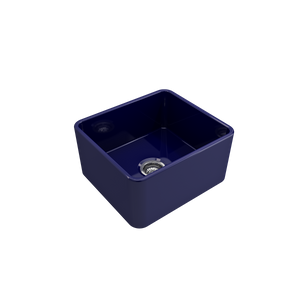 "Bocchi Classico Farmhouse Apron Front Fireclay 20"" Single Bowl Kitchen Sink with Protective Bottom Grid and Strainer 1136-010-0120 Sapphire Blue"