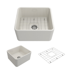 "Bocchi Classico Farmhouse Apron Front Fireclay 20"" Single Bowl Kitchen Sink with Protective Bottom Grid and Strainer 1136-014-0120 Biscuit"