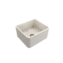 "Load image into Gallery viewer, Bocchi Classico Farmhouse Apron Front Fireclay 20"" Single Bowl Kitchen Sink with Protective Bottom Grid and Strainer 1136-014-0120 Biscuit"