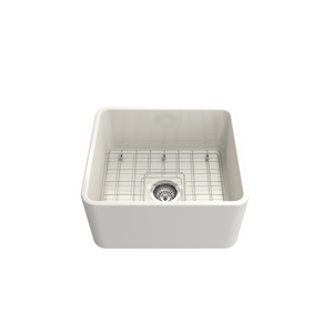 "BOCCHI Classico Farmhouse Apron Front Fireclay 20"" Single Bowl Kitchen Sink with Protective Bottom Grid and Strainer 1136-0**-0120"